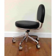 Tabouret/werkstoel met 4 wielen - zwart